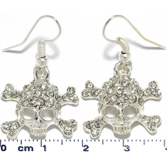 Skull Cross Bones Rhinestone Earrings Silver Tone Ger305