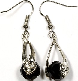 Crystal Earrings Heart Black Ger307