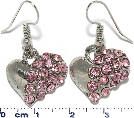 Heart Rhinestone Dangle Earrings Metallic Tone Pink Ger308