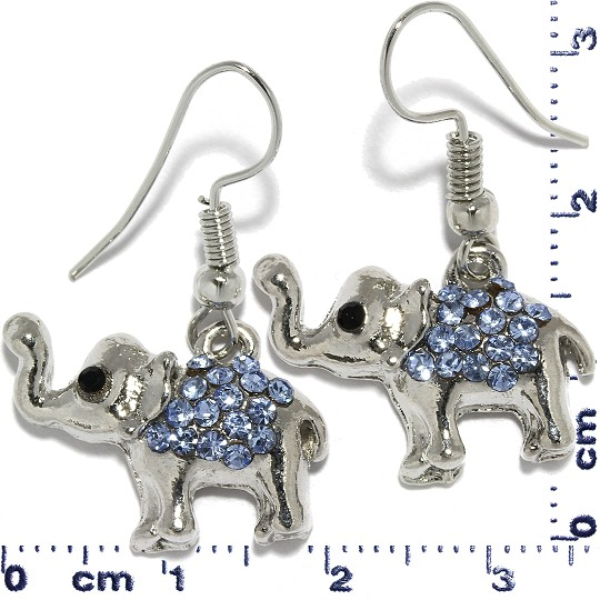 Elephant Rhinestone Dangle Earrings Metallic Tone Blue Ger311