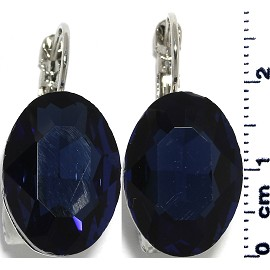 Crystal Earrings Oval Silver Tone Dark Blue Ger321