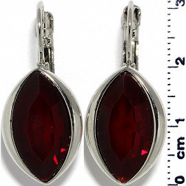 Crystal Earrings Oval Eye Silver Tone Dark Red Maroon Ger327