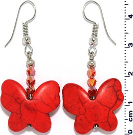 Butterfly Smooth Earth Stone Earrings Crystal Silver Red Ger330