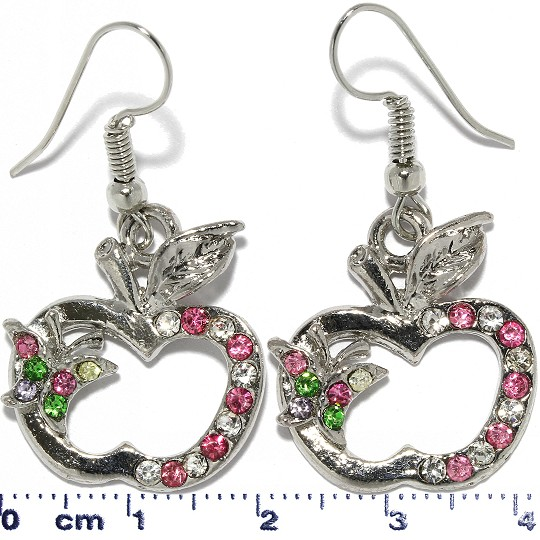 Apple Butterfly Rhinestone Earrings Metallic Tone Pink GC Ger333