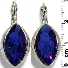Crystal Earrings Oval Eye Silver Tone Blue Ger334