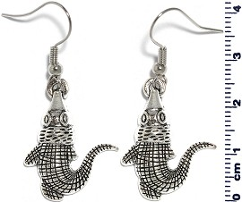 Metallic Earrings Gator Silver Ger335