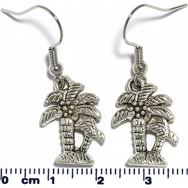 Metallic Earrings Palm Tree Silver Ger337