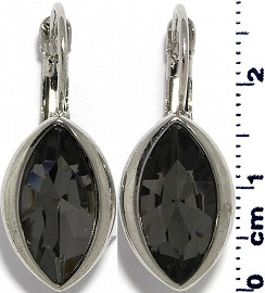 Crystal Earrings Oval Eye Silver Tone Gray Ger338