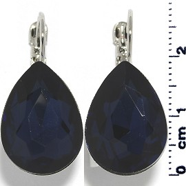 Crystal Earrings Tear Drop Silver Tone Dark Blue Ger342