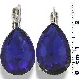 Crystal Earrings Tear Drop Silver Tone Blue Ger343
