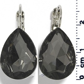 Crystal Earrings Tear Drop Silver Tone Gray Ger344