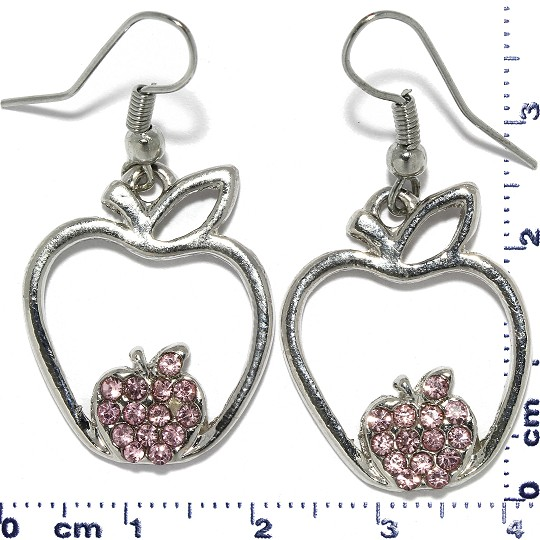 Apple Rhinestone Earrings Metallic Tone Pink Ger350