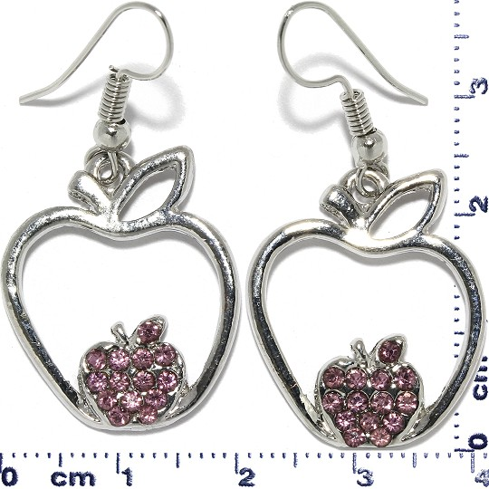 Apple Rhinestone Earrings Metallic Tone Purple Ger351