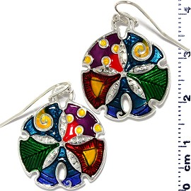 Sand Dollar Sea Shell Earrings Multi Colored Green Red Ger352