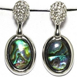 Abalone Earrings Rhinestone Green GER353