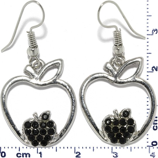 Apple Rhinestone Earrings Metallic Tone Black Ger356