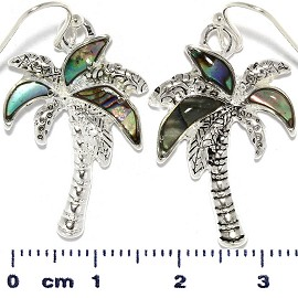 Abalone Earrings Palm Tree Green Silver Tone Ger358
