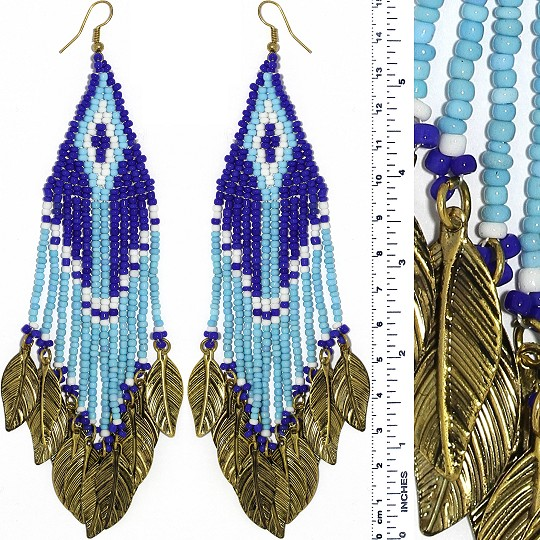 Indian Earrings Feather Bead Turquoise Blue WT Gold Tone Ger361