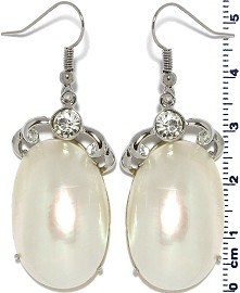 Mother of Pearl Nacre Earrings White Ger367