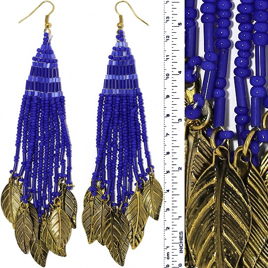 Indian Earrings Feather Bead Tube Blue Gold Tone Ger370