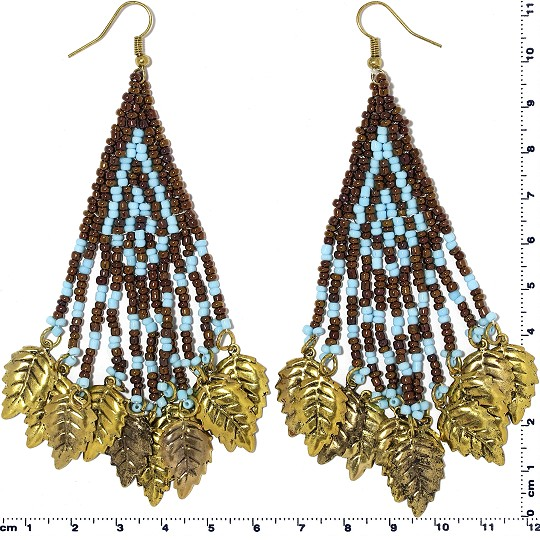 Indian Earrings Leaves Leaf Brown Turquoise Gold Tone Ger375