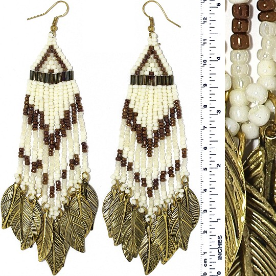 Indian Earrings Feather Bead Tube Ivory WT Brow Gold Tone Ger376