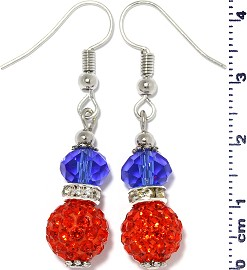 Earrings Beads Crystal Rhinestone Silver Blue Red Ger380