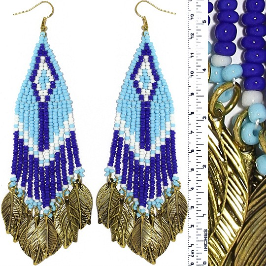 Indian Earrings Feather Bead Turquoise Blue Gold Tone Ger382