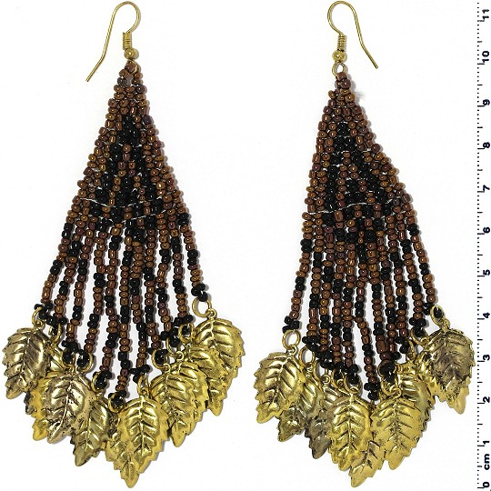 Indian Earrings Leaves Leaf Brown Black Gold Tone Ger383