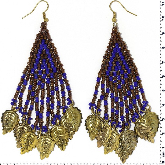 Indian Earrings Leaves Leaf Brown Blue Gold Tone Ger384