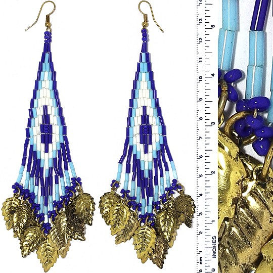 Indian Earrings Leaves Leaf Turquoise Blue Whit Gold Tone Ger387
