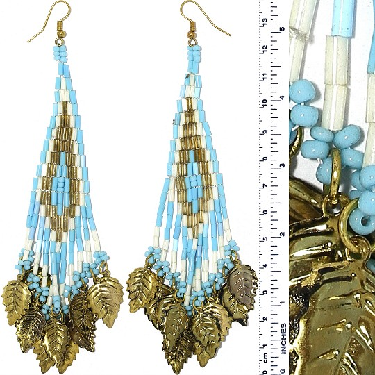 Indian Earrings Leaves Leaf Turquoise White Ivo Gold Tone Ger388