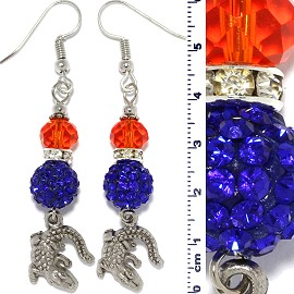 Earrings Beads Gator Crystal Rhinestone Orange Blue Ger391