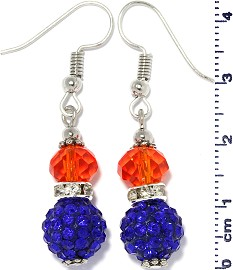 Earrings Beads Crystal Rhinestone Silver Orange Blue Ger392