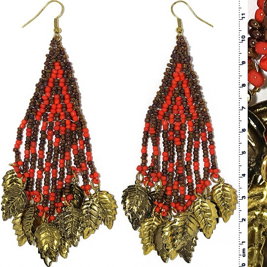 Indian Earrings Leaves Leaf Red Brown Gold Tone Ger400