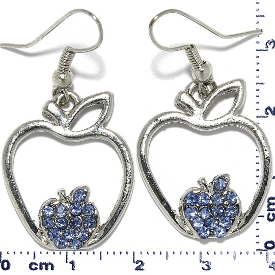 Apple Rhinestone Earrings Metallic Tone Blue Ger401
