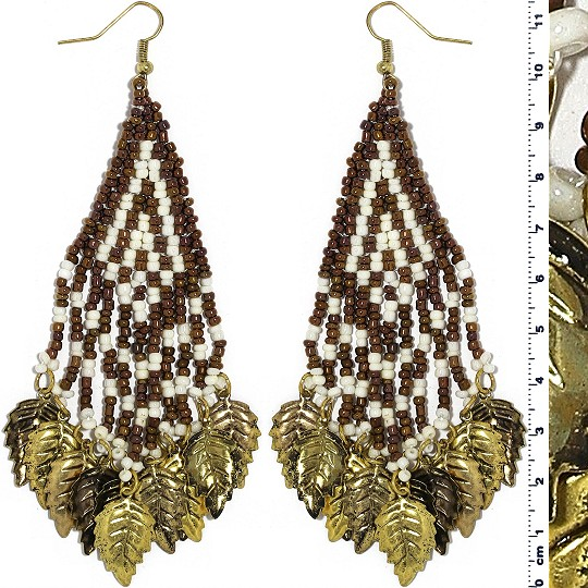 Indian Earrings Leaves Leaf White Brown Gold Tone Ger404