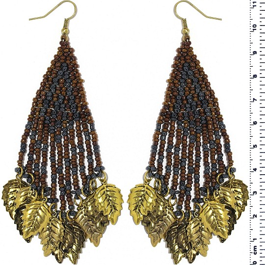 Indian Earrings Leaves Leaf White Brown Gray Gold Tone Ger407
