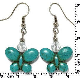 Butterfly Earth Stone Crystal Earrings Silver Turquoise Ger408