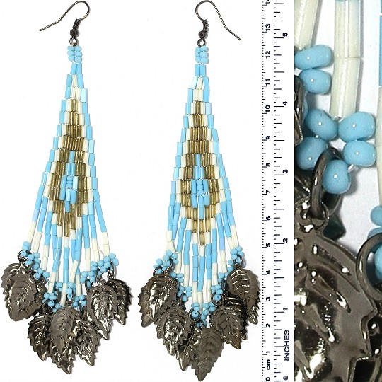 Indian Earrings Leaves Leaf Turquoise Whit Gold Gray Tone Ger410