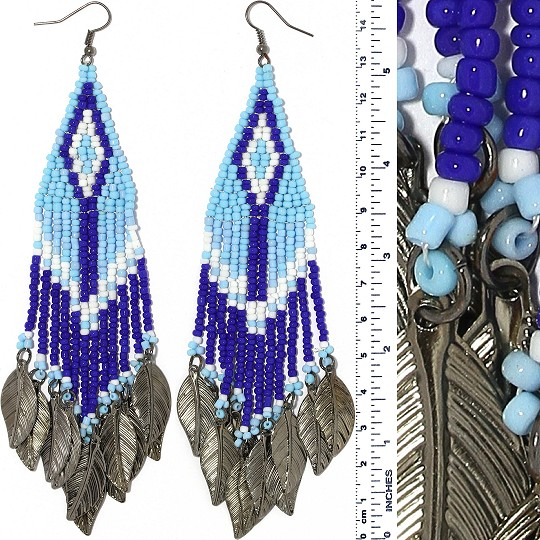 Indian Earrings Feather Bead Turquoise Blue Gray Tone Ger413