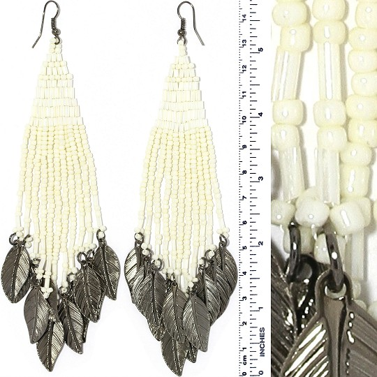 Indian Earrings Feather Bead Cream Ivory White Gray Tone Ger414