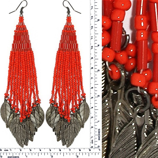 Indian Earrings Feather Bead Tube Red Gray Tone Ger415
