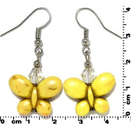 Butterfly Earth Stone Crystal Earrings Silver Yellow Ger418