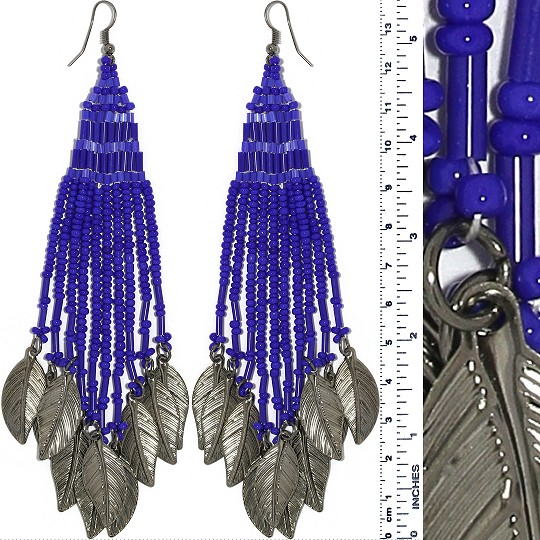 Indian Earrings Feather Bead Tube Blue Gray Tone Ger419