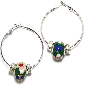Earrings 34mm Wide Hoop Flower Cloisonné Bead Green Ger425