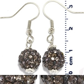 Rhinestone Earrings Ball Bead Gray Ger427