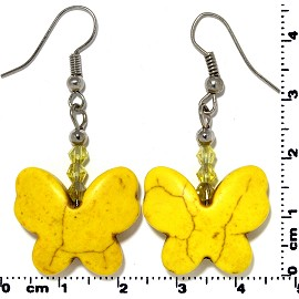 Butterfly Earth Stone Smooth Earrings Silver Yellow Ger432