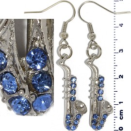 Rhinestone Earrings Saxophone Silver Blue Ger433
