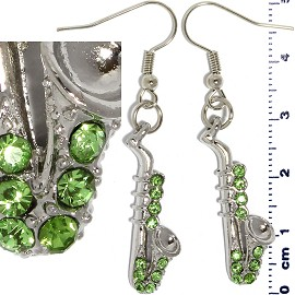 Rhinestone Earrings Saxophone Silver Apple Green Ger434